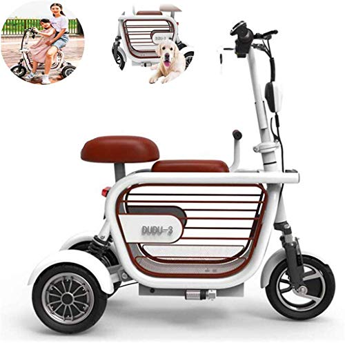 HFJKD Power Wheelchair Folding Electric Scooter, Electric 3-Wheeler Two-Seater Outdoor Mobile Scooter for Women with Disabilities, 400W15A Lithium Battery Life 65KM Comfortable and Safe Travel