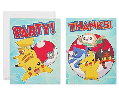 American Greetings Pokemon Party Supplies Invite and Thank-You Card Combo Pack, 8-Count