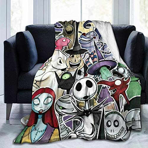 Quxueyuannan Inspired by The-Nightmare-Before Christmas Flannel Blanket Sofa Living Room Bedroom School Dormitory Warm Lightweight Soft Blanket Black 60'' X50