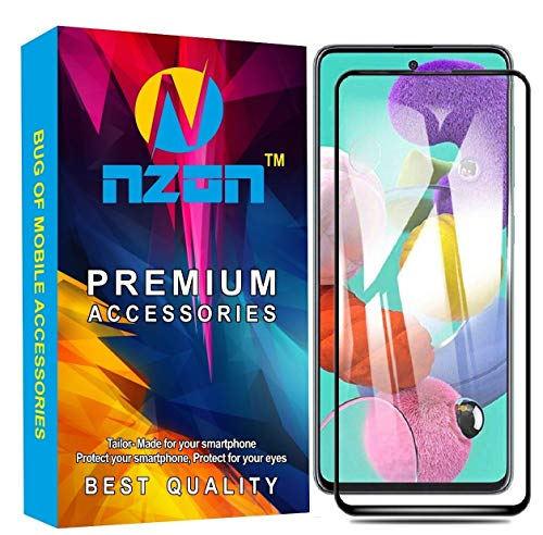 nzon 2.5D Curve Anti Fingerprint 0.33 mm Full Glue 11D Edge to Edge Tempered Glass Screen Protector Compatible for Samsung Galaxy M31(Black)