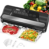 QDH Vacuum Sealer Machine With Built-in Cutter, 95kPa Pro Vacuum Food Sealer, Automatic 5-in-1 Food Sealer Led Indicator Lights|Easy to Clean|Dry & Moist Food Modes| Compact Design (Black)