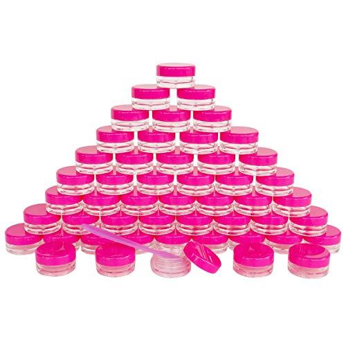 GreatforU 50 Pack 3g Jar, 3ml Jar, 50pcs BPA Free, Kosmetik Probe Container, Plastik, runde Topf Rote Rosa Schraubdeckel, kleine 3g Flasche, für Make-up, Lidschatten, Nägel, Puder, Farbe, Schmuck