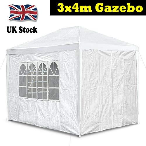3x4m paviljoen partij tent waterdichte strandtent gazebo luifel patio luifel luifel zonnescherm met 4 afneembare zijkanten geschikt voor tuin camping strand (wit)