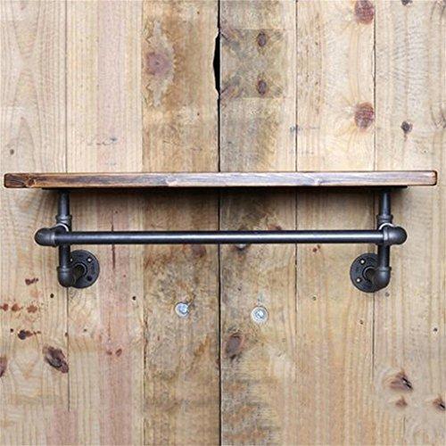 RFJJAL Mur Décorations Manteau Rack/Loft Fer Et Bois Tuyau d'eau Plateau De Stockage Rétro Style Industriel Crochet Vêtements Magasin Présentoir Hanger Floating Unit Cadre (Taille : 40 * 20 * 2cm)