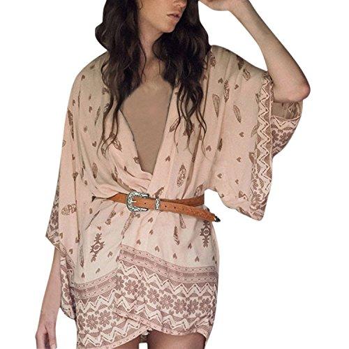 Petalum Damen Overall Sommer Strand Bikini Cardigan Kimono Strickjacke Kurzarm Shirts Kittel Tops Bikini Cover Up