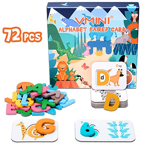 Vmini Animal Numbers Alphabets Flash Cards Wooden Jigsaw Puzzle Board Set Preschool Educational Montessori Toys for Toddlers Kids Boys Girls 3+ Years Old