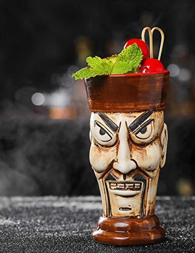 zhqingyu Big Eyed Zombie Tiki Tasse Tropischer hawaiianischer Strandbecher Cocktailglas Keramikbecher