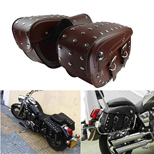 YHMTIVTU Motorcycle Saddlebags Waterproof Side Tool Bags Fit for Harley Sportster 883 Suzuki Brown with Stainless Steel Studs