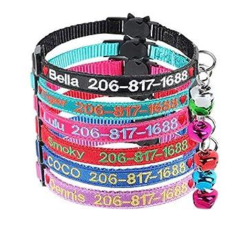Graceful life Gracieux Vie personnalisée Breakaway Collier pour Chat personnalisée avec Bell (5 Color, Heart Logo)