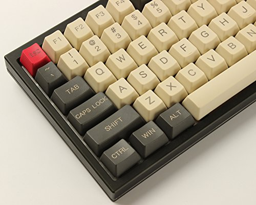 YMDK 96 84 ANSI ISO Keyset OEM Profile Thick PBT Keycap Set for Cherry MX Mechanical Keyboard YMD96 RS96 KBD75 YMD75 FC980M (Gray Beige)(Only Keycap)