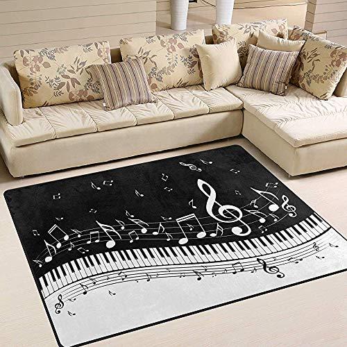 Sweet-Heart Notas Musicales Área de Las Teclas del Piano Alfombra Tapete Decoración del hogar para el Dormitorio Dormitorio Sala de Estar Comedor Cocina Oficina