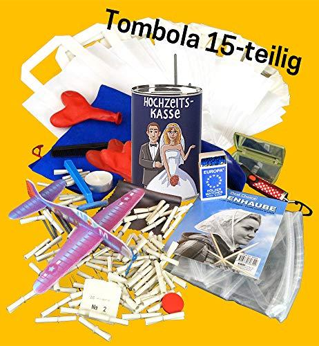 TOMBOLA - 15 Preise und Lose - inkl. 100 Tombola Lose und 15 Scherztombola Preise und Sparschwein zum Sammeln der Geldgeschenke - Klassiker der Hochzeitsspiele, Geburtstagsspiele und Partyspiele - Komplettset Tombola L