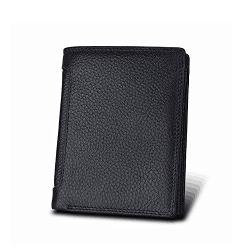 Wennew Gazigo RFID Bloqueo de Billetera de Cuero para Hombres con tríptico 3 ID Windows, Cartera de Hombre (Color : Negro)