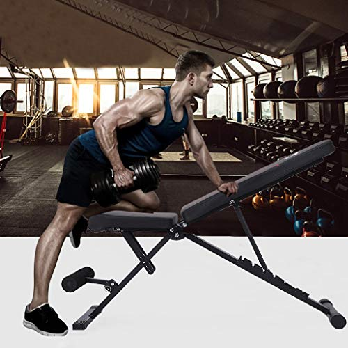 Adjustable Weight Bench, Utility Barbell Lifting Press Exercise Dumbbell Bench, Portable Folding Home G-ym Strength Training Flat Incline Decline Barbell Bench Sit Up Abs Benchs (47×16×47.5inch)