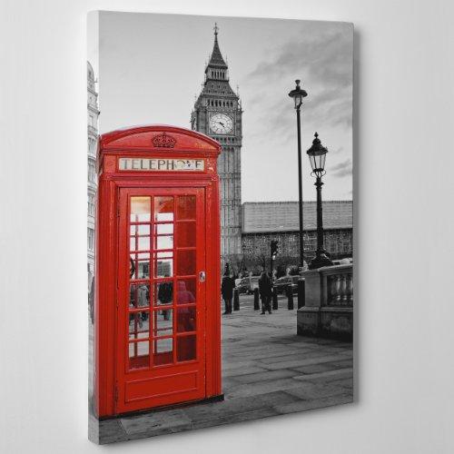 Cuadro sobre Lienzo - Enmarcado - Listo para Colgar - Ciudad Londres - Cabina telefónica - Big Ben - London - Inglaterra UK - 50 x 70 cm - Sin Marco - (cód. 007)
