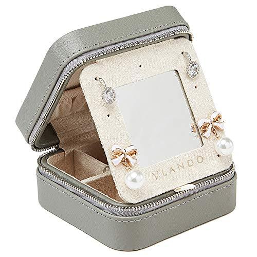 Vlando ジュエリーケース 携帯用 収納ケース 小物 宝石箱 指輪 ネックレス収納 旅行 や 外泊 の 必需品 PUレザ(グレー)