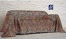 L'EMPORIO_CASA_WEB - Tela decorativa para sofá con estampado de leopardo - Sábana cubretodo de algodón 100% Granfoulard - Fabricada en Italia (leopardo, 260 x 290 cm)