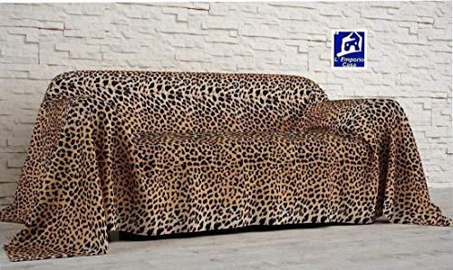 L'EMPORIO_CASA_WEB - Tela decorativa para sofá con estampado de leopardo - Sábana cubretodo de algodón 100% Granfoulard - Fabricada en Italia (leopardo, 160 x 290 cm)
