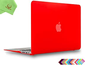 UESWILL Smooth Soft-Touch Matte Hard Shell Case Cover for 2008-2017 MacBook Air 13 inch (Model A1466 / A1369) + Microfibre Cleaning Cloth, Red