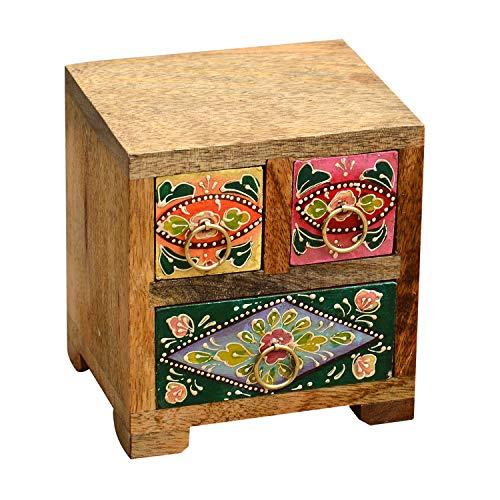 Casa Moro Orientalische Mini-Kommode handbemaltes Holz-Kästchen Hari mit 3 bunten Schubladen aus Mangoholz | H14 x B13 x T12 cm | Originelle Geschenk-Idee für die Dame Freundin Frau Muttertag | RK4