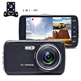 Camecho 1080P 4.0'' Zoll Auto Kamera DashCam Armaturenbrett Kamera Dual Objektiv, Rückfahrkamera,...