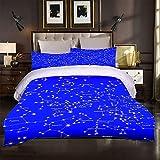 Uego De Cama De 3 Piezas, Moderna Funda De Edredón De Microfibra Suave Y Transpirable Azul, Estrellas Que Incluye 1 Funda De Edredón 135x200cm + 2 Fundas De Almohada 50x75cm