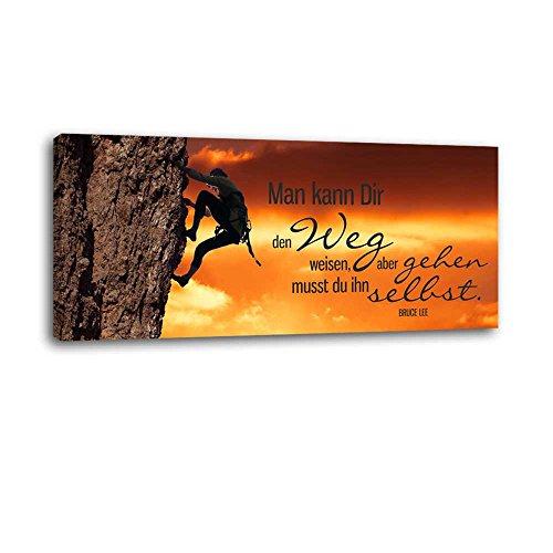 Dalinda® XXL-Wandbild Leinwandbild mit Spruch Weg weisen 100x40cm Keilrahmenbild Kunstdruck Wandbild Panorama Leinwandbild LS023
