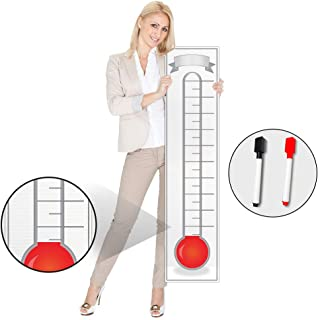Goal Setting Fundraising Thermometer Chart - 48x11 - Giant Progress Meter Board Corrugated Plastic - Company Sales Milestone Tracking Wall Charts