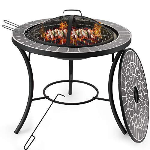 DAWOO Concrete Firepits with BBQ Grill Shelf,Barbecue Brazier,Table Brazier Garden Patio Heater/BBQ/Ice Pit with Waterproof Cover,Magnesium oxide material (3 in 1Fire Pit Table & Grill) (58X70X40cm)