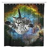 AdaCrazy Cortina de Ducha Space Cat Galaxy Funny Pet Novetly Home Baño Decoración Tejido de poliéster Impermeable 72 x 72 Pulgadas Set con Ganchos