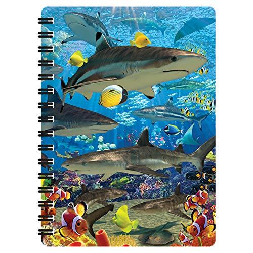 3D LiveLife Libreta - Tiburón de Deluxebase. Libreta pequeña A6 con espiral, lenticular 3D del océano y hojas lisas recicladas. Ilustraciones con licencia del reconocido artista David Penfound