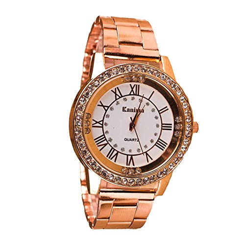 MoGist Frau Römischen Ziffern Volldiamantlegierung Uhr Wasserdicht Und Langlebig 1 STÜCKE (Rosy Gold)