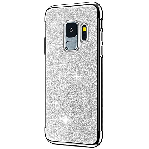 Saceebe Compatible avec Samsung Galaxy S9 Coque Housse Glitter Paillette Brillant Strass Diamant Transparent Gel Silicone TPU Souple Ultra Mince Etui Chrome Placage Bumper Coque,Argent