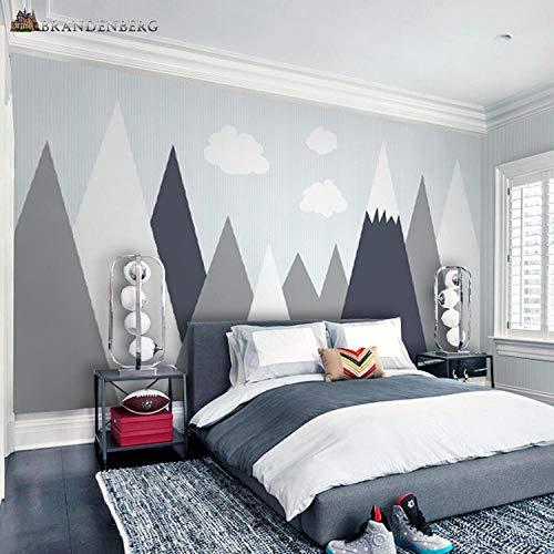 Fototapete Tapete 3D Tapetenwand 8D Nordic Ins Wind Einfache Moderne Geometrische Berg Kinderzimmer Cartoon Schlafzimmer Hintergrund Wand Kindergarten Tapete Wandverkleidung-350Cmx245Cm