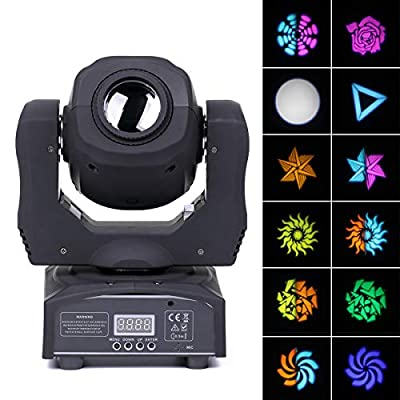 Moving Head Lichteffekt, [UKing Updated version] 8 patterns lights 60W LED Stage light with 4 control modes for party DJ disco Bar club show christmas (black)