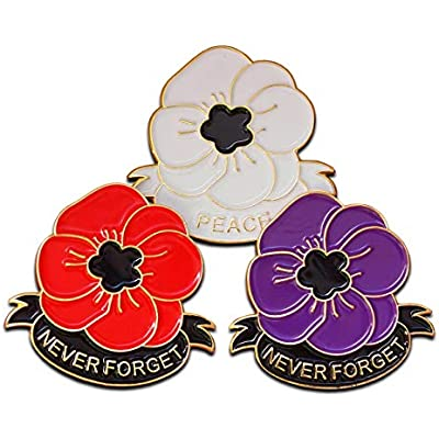 2019 WW1 UK Military Veteran Soldier Red Poppy Pin Badge Brooch UK stock