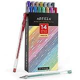 Arteza Metallic Gel Pens 14-Individual-Colors - Triangular Grip - (0.8-1.0 mm Tips, Set of 14)