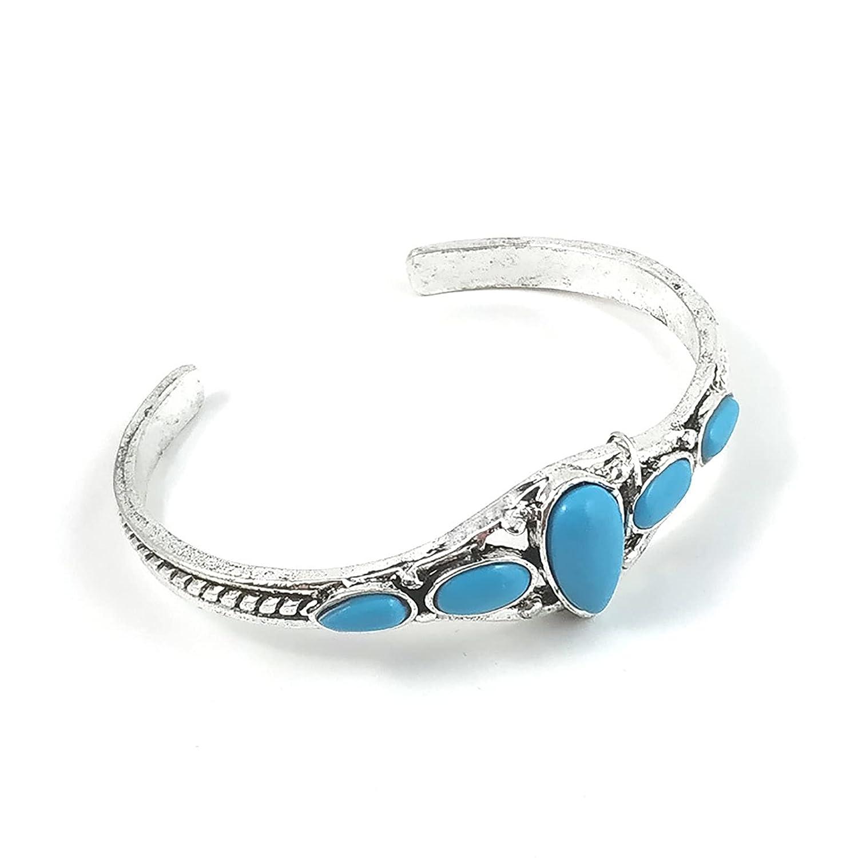 Turquoise Cuff Bracelet Bohemian Adjustable Bangle Oval Shape Cuff Jewelry for Women Girls (Style B)