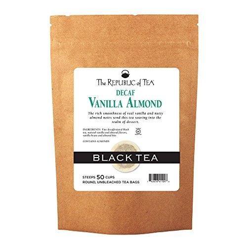 The Republic of Tea Decaf Vanilla Almond Black Tea, 50 Tea Bags, Madagascar Vanilla Bean And Almond Bits