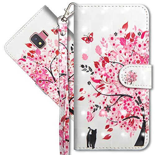 MRSTER J2 Core Handytasche, Leder Schutzhülle Brieftasche Hülle Flip Hülle 3D Muster Cover mit Kartenfach Magnet Tasche Handyhüllen für Samsung Galaxy J2 Core 2018. YX 3D - Tree Cat