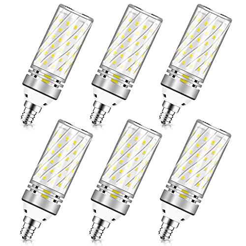 E12 LED Bulbs, 16W Candelabra Light Bulbs, Daylight 6000K, CRI80+, 1500LM 120W Equivalent, E12 Base LED Chandelier Bulbs, Non-Dimmable LED Lamp, 6Pack