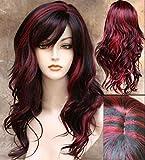 Peluca de pelo sintético ondulado de longitud media para mujer en color negro y rojo,...