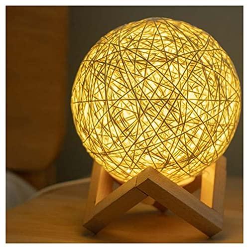ZHMIAO Tipo de interruptores Lámpara Creativa de Bola de Rattan, Ornamento de Manualidades de Tira de ratán, lámpara de Mesa de Giro Nocturna LED USB para decoración del ho Yellow