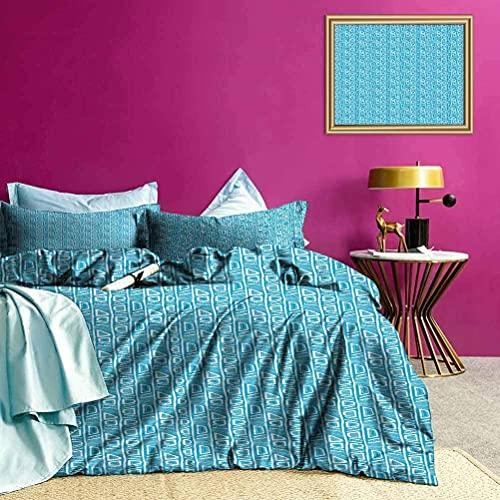 Funda de Cama Bicolor Formas geométricas Art Juego de Cama Suave Ligero Cómodo