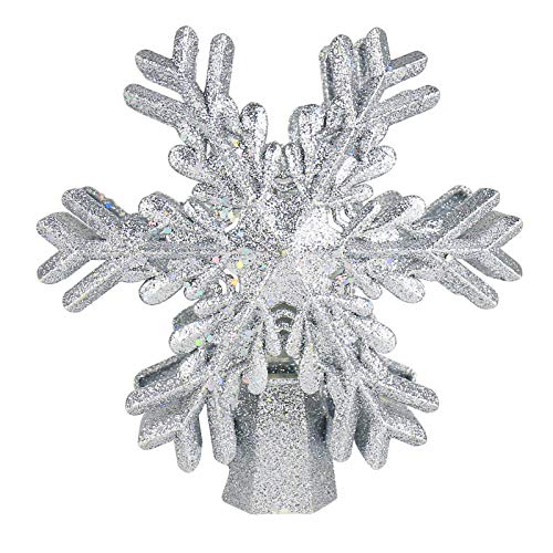 JIEGOO Christmas Tree Topper Snowflake Projector - Indoor LED Rotating Snowflake, 3D Glitter Snowflake Tree Topper for/Holiday Tree Decoration