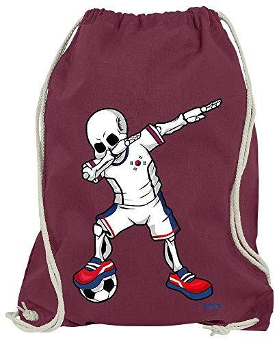 HARIZ Turnbeutel Fussball Dab Skelett Korea Trikot Mannschaft Plus Geschenkkarten Wein Rot One Size