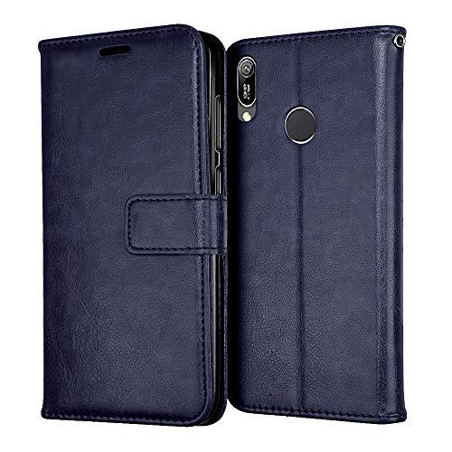 TECHGEAR Leder Hülle kompatibel mit Huawei Y6s / Y6 2019 - PU Leder Flip Hülle Schutzhülle Ledertasche [Brieftasche] Handyhülle mit Ständer & Handschlaufe Beutel Hülle - Blau