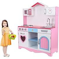 MuGuang - Juguetes de cocina para niños y niñas, de madera, para niños de 3 a 9 años, color (Rosa)