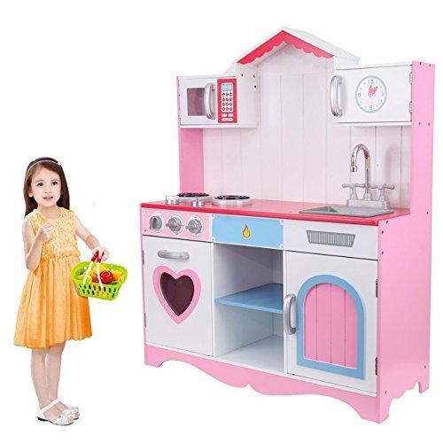 MuGuang Küchenspielzeug Spielküche Küche mit Zubehör Spielzeugküche, Holzspielküche Kinderspielküche für 3-9 Jahren Kitchen Toys Role Play