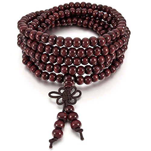 Senmubery 6mm Pulsera Brazalete Collar Tibetano Rojo Sandalo 216pcs Bead Oracion Budismo Budista Hombre,Mujer
